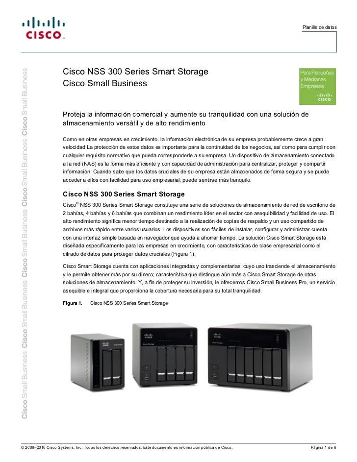 Planilla de datos                     Cisco NSS 300 Series Smart Storage                     Cisco Small Business         ...