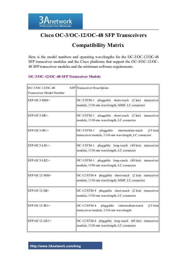 Cisco OC-3/OC-12/OC-48 SFP Transceivers Compatibility Matrix Here is the model numbers and operating wavelengths for the O...