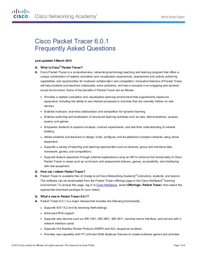 Cisco Packet Tracer 6.0.1 faqs