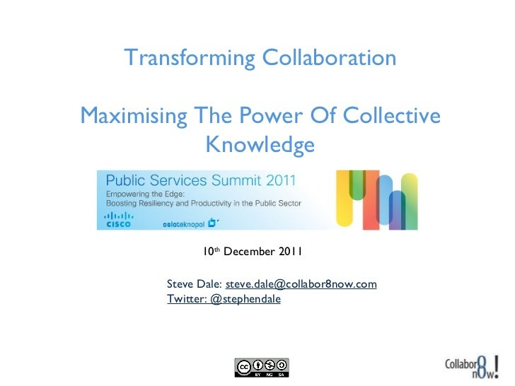 Steve Dale:  [email_address] Twitter: @stephendale Transforming Collaboration Maximising The Power Of Collective Knowledge...