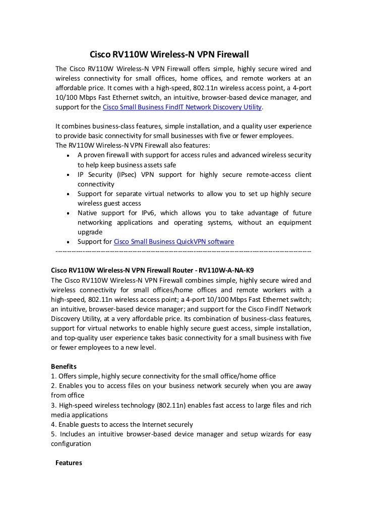 Cisco rv110 w wireless n vpn firewall