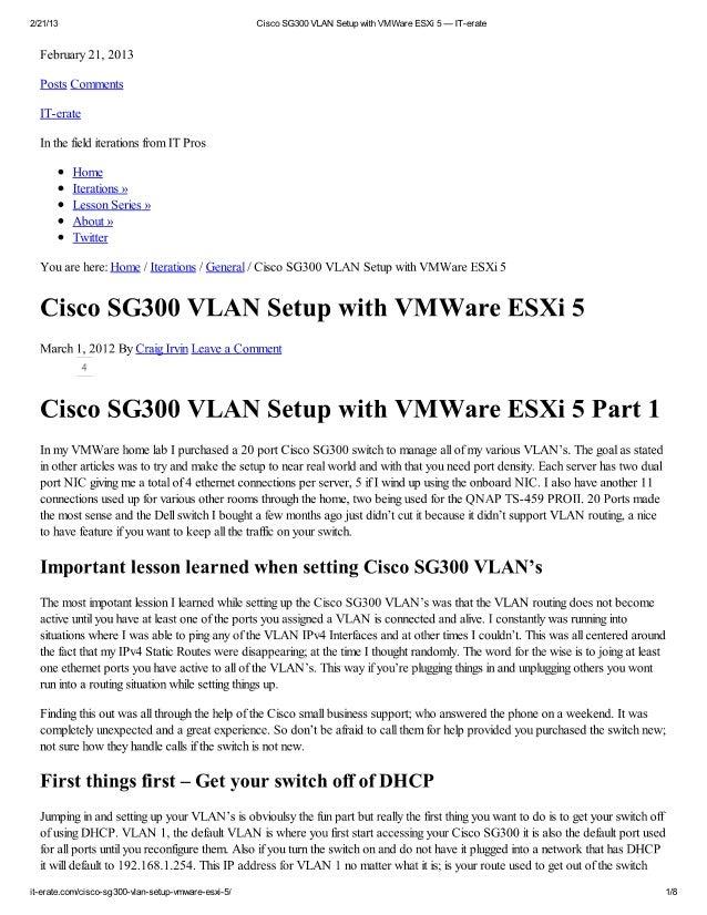 Cisco sg300 vlan setup w..