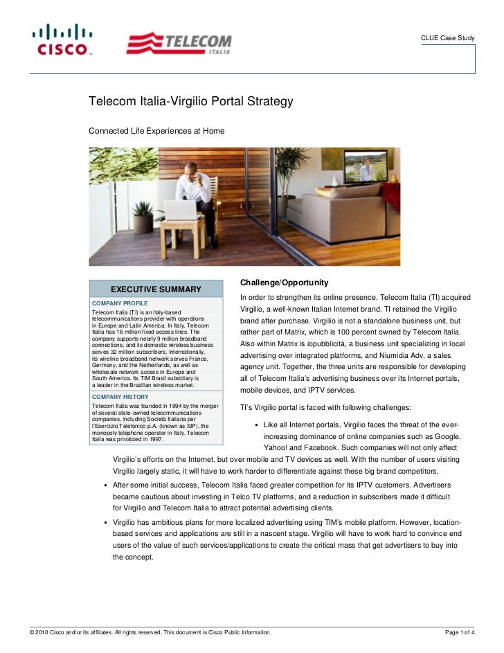 CLUE Case Study                        Telecom Italia-Virgilio Portal Strategy                        Connected Life Exper...