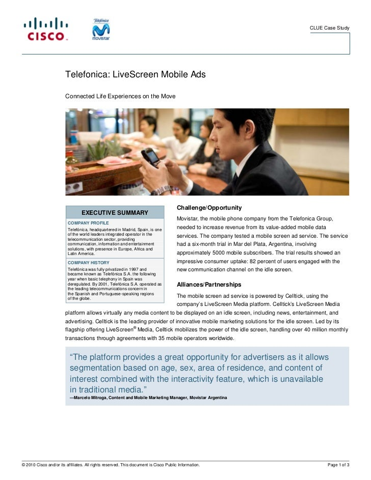 CLUE Case Study                        Telefonica: LiveScreen Mobile Ads                        Connected Life Experiences...