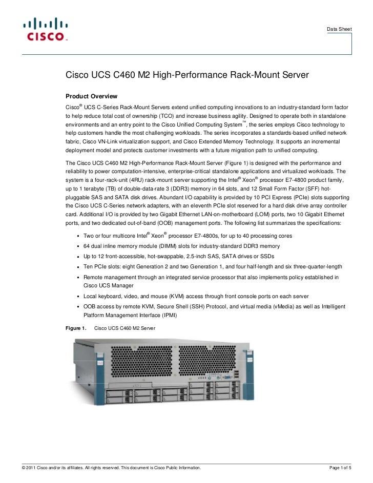 Data Sheet                        Cisco UCS C460 M2 High-Performance Rack-Mount Server                        Product Over...