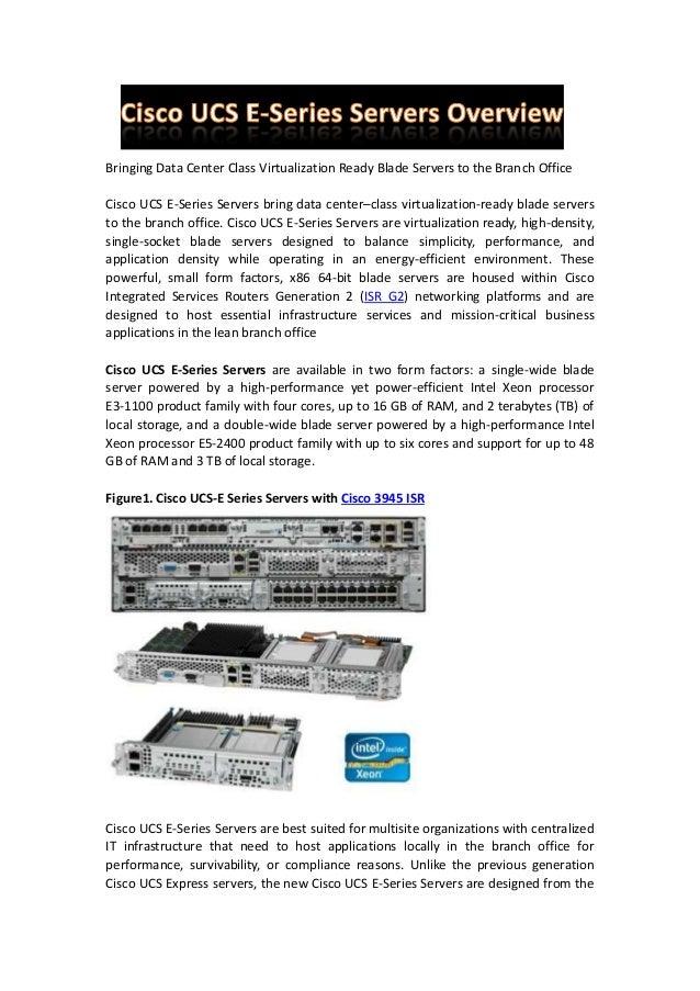 Cisco ucs e series servers overview
