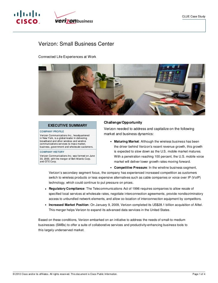 CLUE Case Study                        Verizon: Small Business Center                        Connected Life Experiences at...