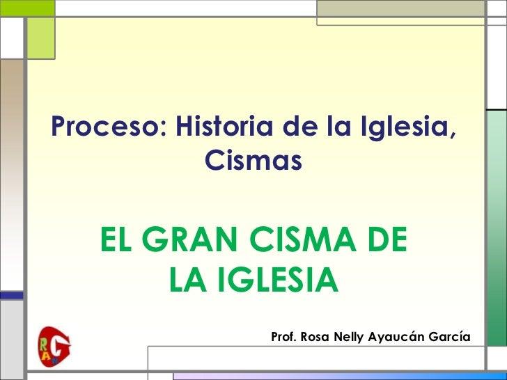 Proceso: Historia de la Iglesia,           Cismas   EL GRAN CISMA DE       LA IGLESIA                 Prof. Rosa Nelly Aya...