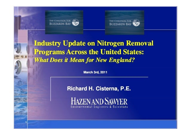 Industry Update on Nitrogen Removal Programs Across the United States: What Does it Mean for New England? March 3rd, 2011 ...