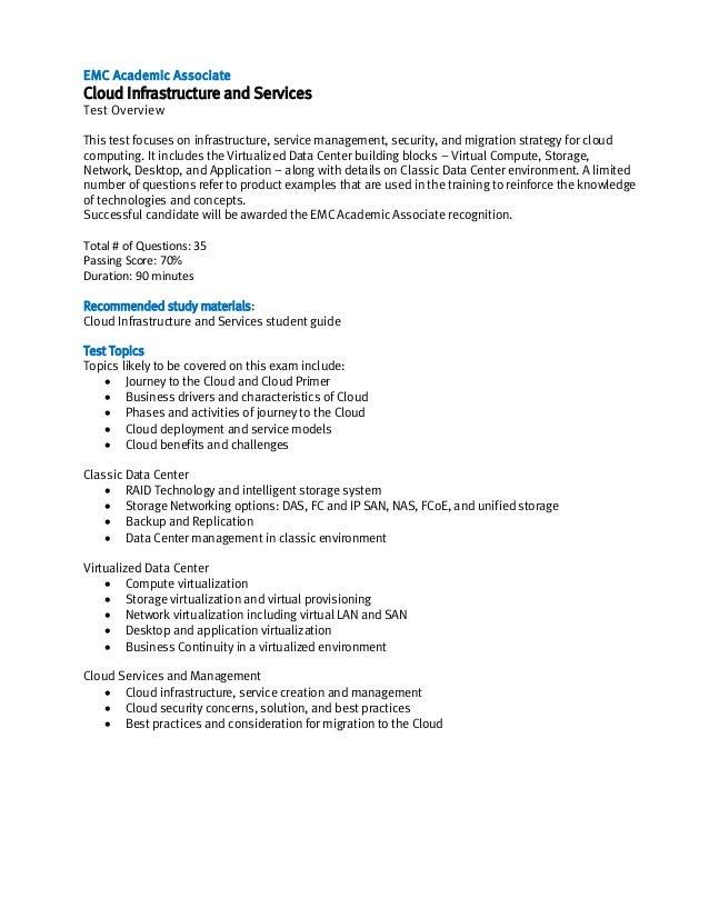EMC Academic Associate Exam Description  - Cloud Infrastructure and Services