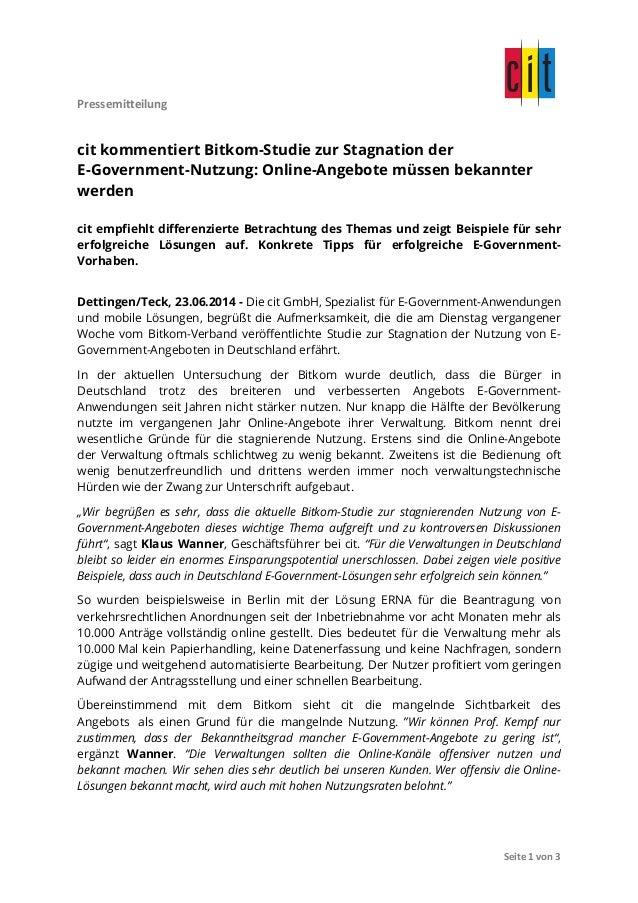 Pressemitteilung                 Seite  1  von  3   cit kommentiert Bitkom-Studie zur Stagnation der E...