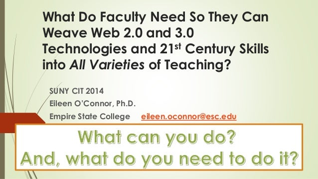 What Do Faculty Need So They Can Weave Web 2.0 and 3.0 Technologies and 21st Century Skills into All Varieties of Teaching...