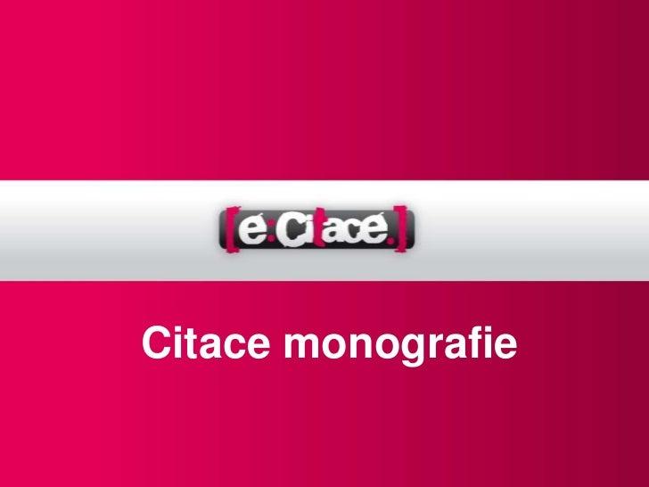 Citace monografie