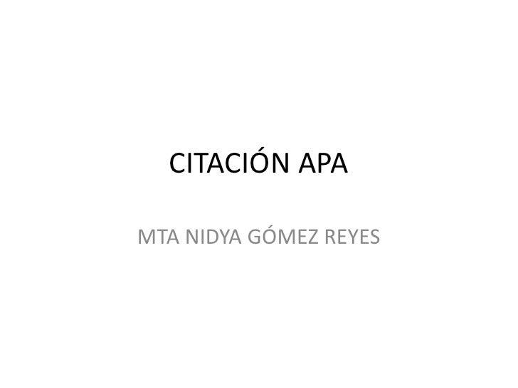 CITACIÓN APAMTA NIDYA GÓMEZ REYES