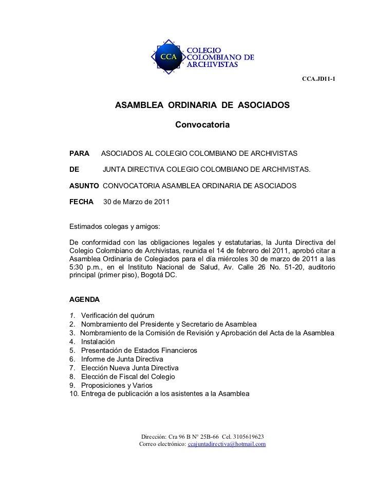 Citacion asamblea ordinaria marzo 2011