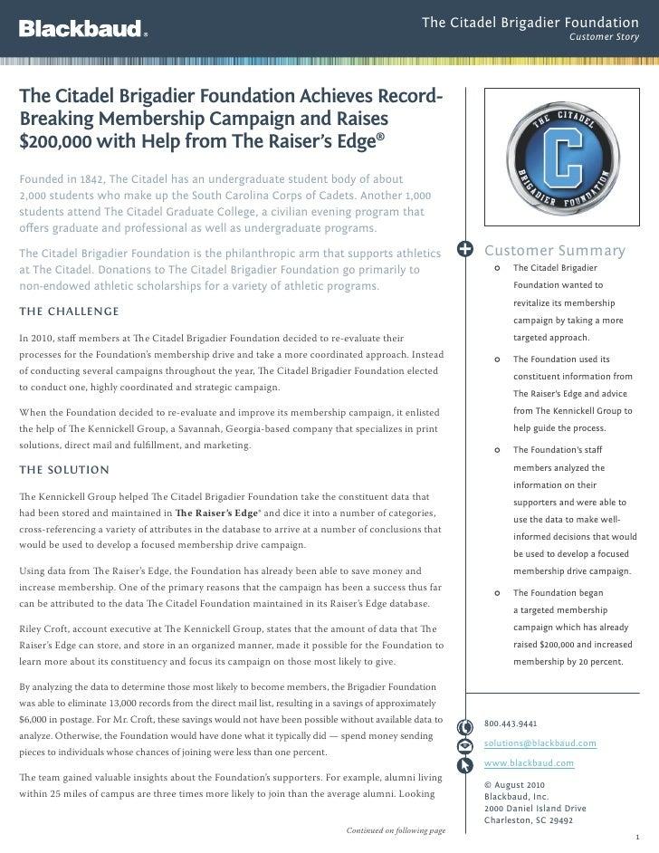 Citadel Brigadier Foundation case study