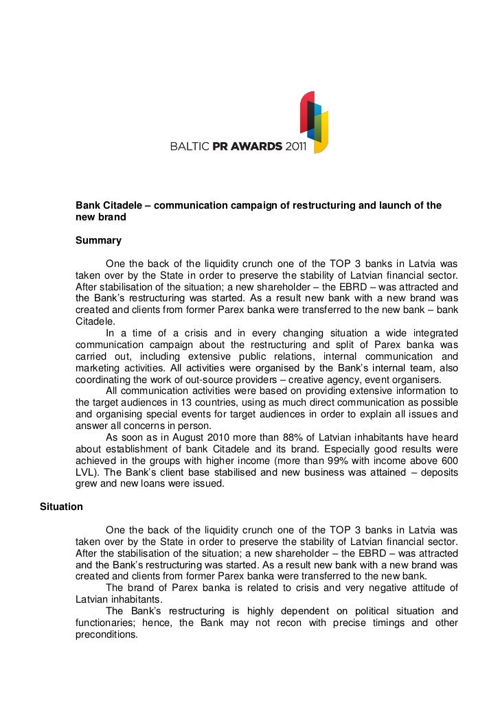 Bank Citadele – communication campaign of restructuring and launch of the       new brand       Summary              One t...