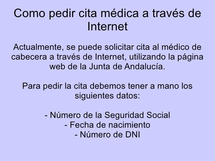 Pedir cita m dica - Pedir cita al medico de cabecera por internet ...