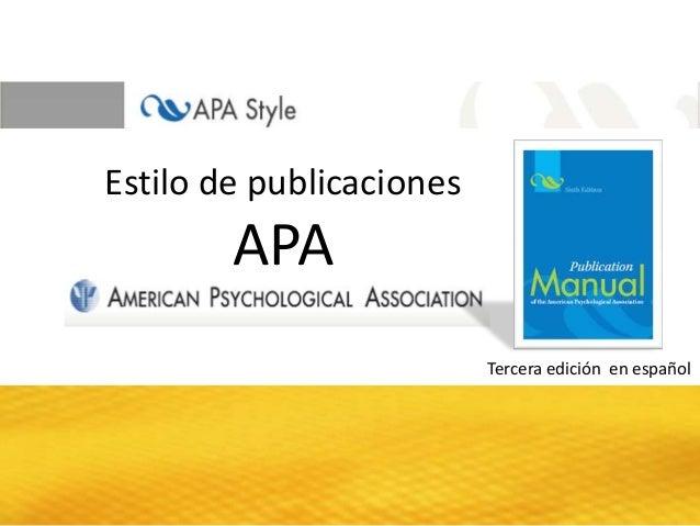 Estilo de publicaciones  APA Tercera edición en español