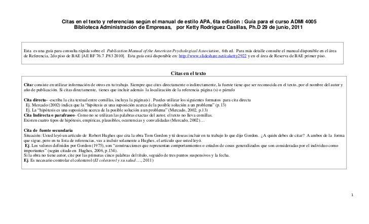 Citas en el texto y referencias según el manual de estilo APA, 6ta edición : Guía para el curso ADMI 4005                 ...