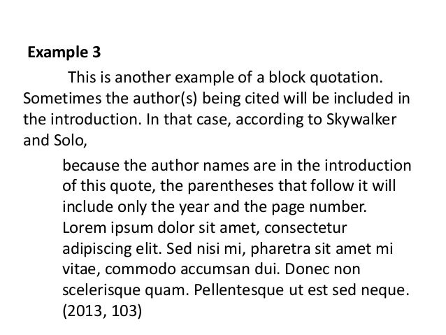 Long quote in apa