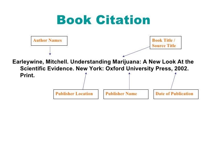 Book Citation <ul><li>Earleywine, Mitchell. Understanding Marijuana: A New Look At the Scientific Evidence. New York: Oxfo...