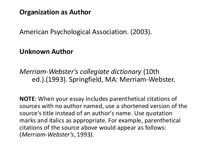 Citing dictionary definitions in essay