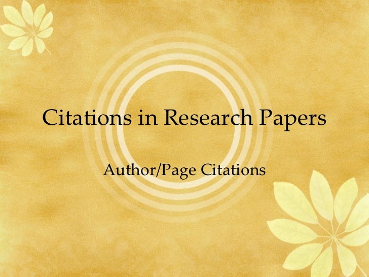 Citations in Research Papers Author/Page Citations