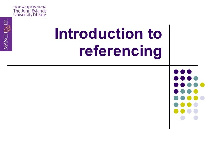 Introduction to referencing