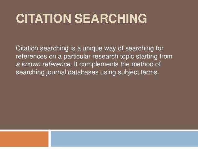 Citation searching 11 jan 2013