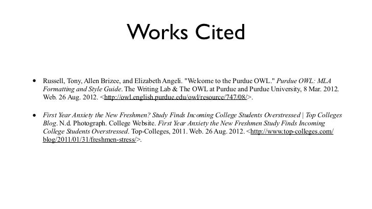 works cited mla format website