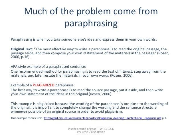 Paraphrasing citation