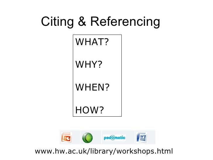 Citing & Referencing          WHAT?          WHY?          WHEN?          HOW?www.hw.ac.uk/library/workshops.html