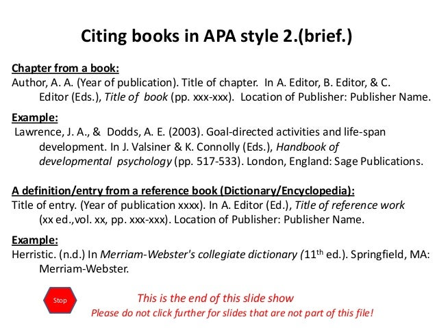 apa format online book Writers workshop: writer resources writing tips grammar handbook citation styles esl resources american psychological association (apa): one book in a series if the book is part of a series, follow this model.