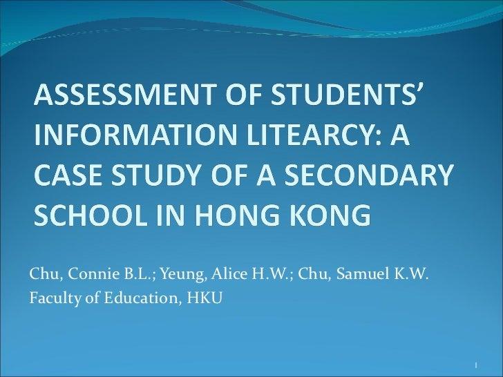 Chu, Connie B.L.; Yeung, Alice H.W.; Chu, Samuel K.W.Faculty of Education, HKU                                            ...