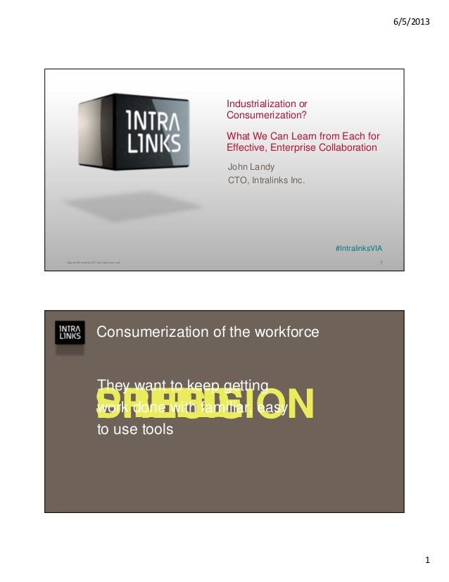 6/5/20131Copyright © Intralinks 2013 all rights reservedIndustrialization orConsumerization?What We Can Learn from Each fo...