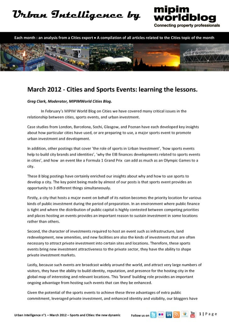 Urban Intelligence - Sports and Cities: the new dynamic