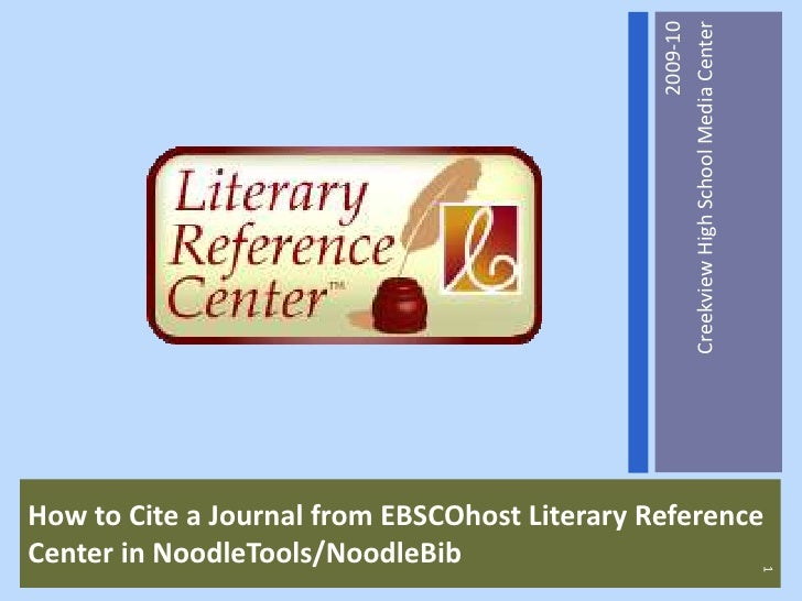 Citing A Journal Article From EBSCOhost Literary Reference Center