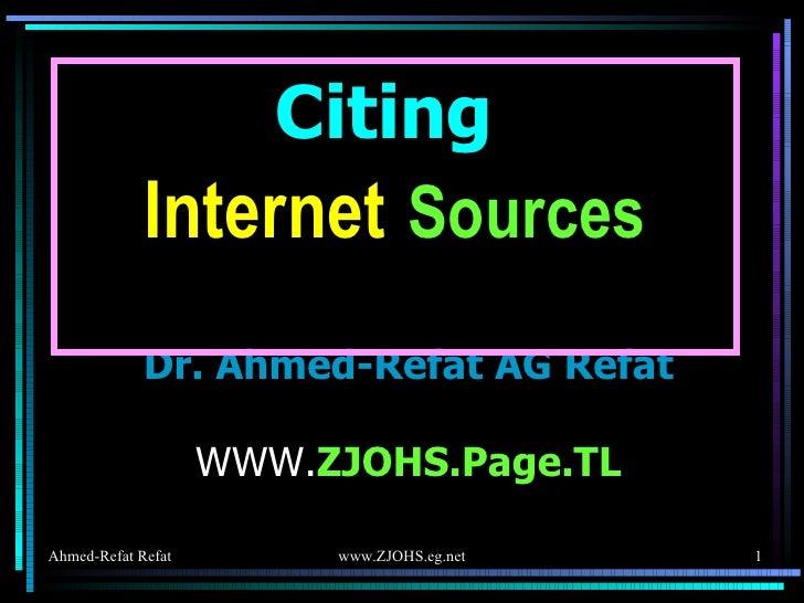 ahmed refat citing internet sources cite site