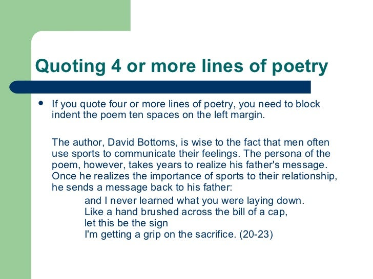 referencing poetry in essays Here is a quick guide on how to quote verse according to the standards set by the modern language association title and reference format italicize the titles of books or long poems published as books.