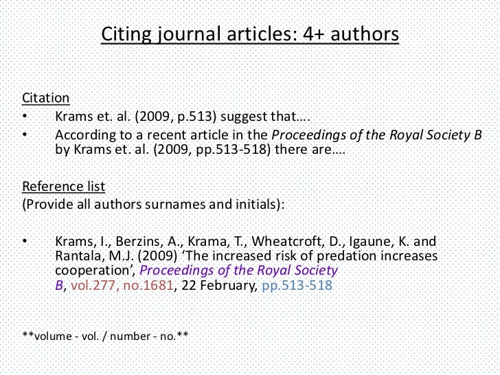Referencing articles