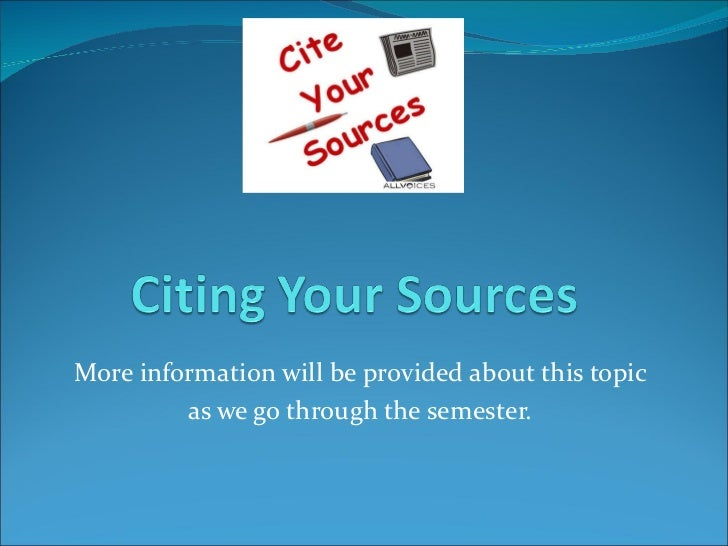 Citing your sources