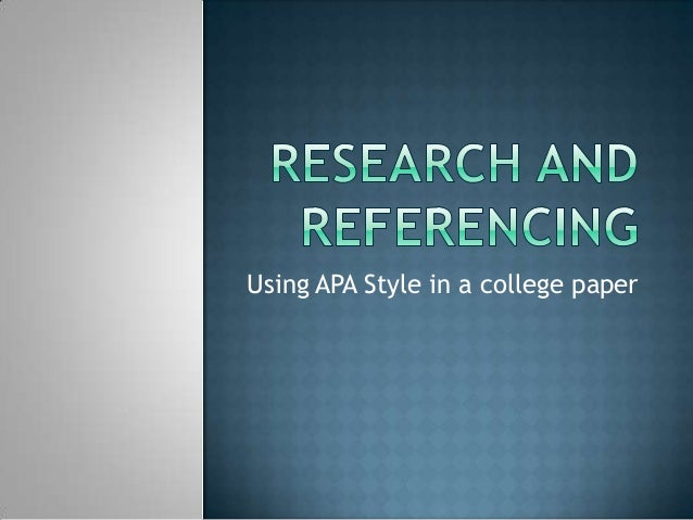 Citing Your Sources - APA