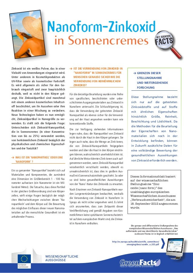 Nanoform-Zinkoxid in Sonnencremes