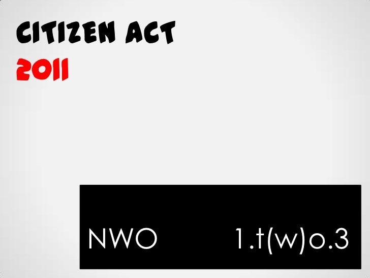 Citizen act 2011 nwo