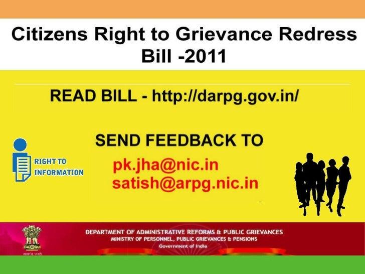 Citizen right to grievance redressal bill 2011