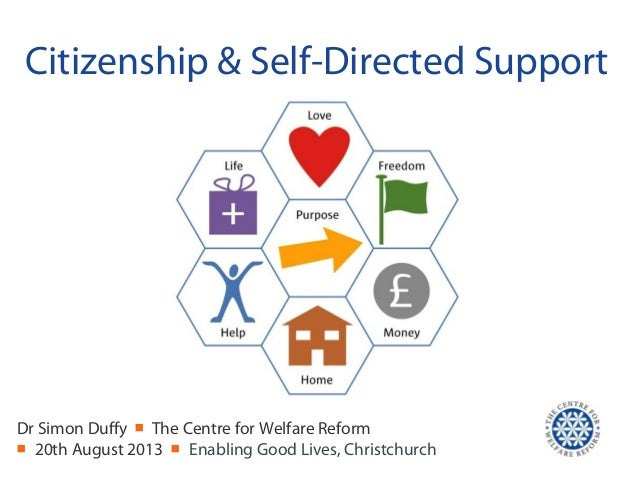 Citizenship & Self-Directed Support Dr Simon Duffy ■ The Centre for Welfare Reform ■ 20th August 2013 ■ Enabling Good Live...