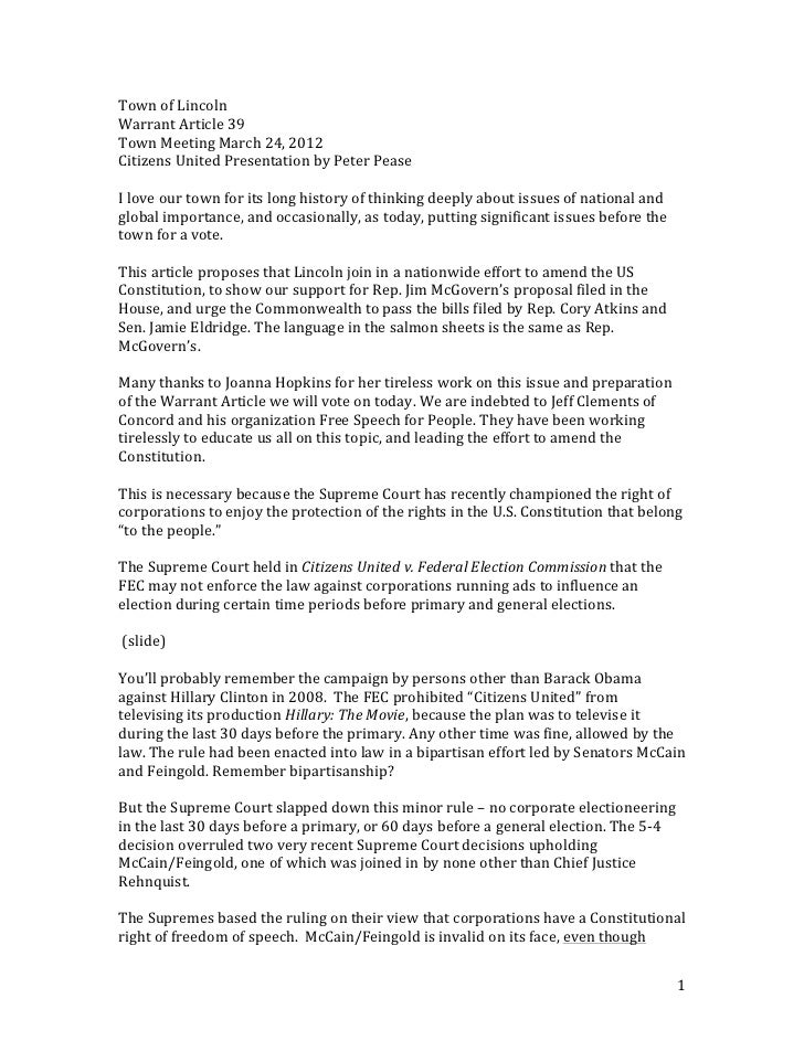 Town	  of	  Lincoln	  Warrant	  Article	  39	  Town	  Meeting	  March	  24,	  2012	  Citizens	  United	  Presentation	  by...