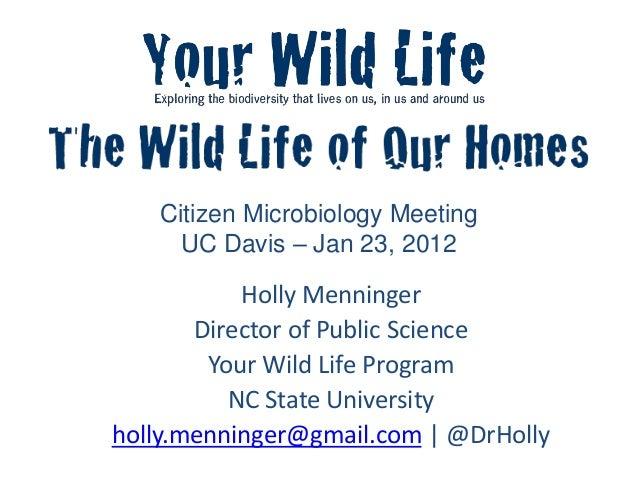 Citizen Microbiology Meeting UC Davis – Jan 23, 2012 Holly Menninger Director of Public Science Your Wild Life Program NC ...