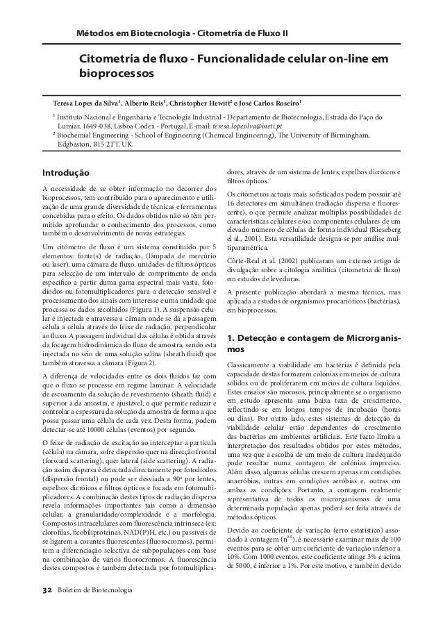 Métodos em Biotecnologia - Citometria de Fluxo II  Citometria de fl uxo - Funcionalidade celular on-line em  bioprocessos ...